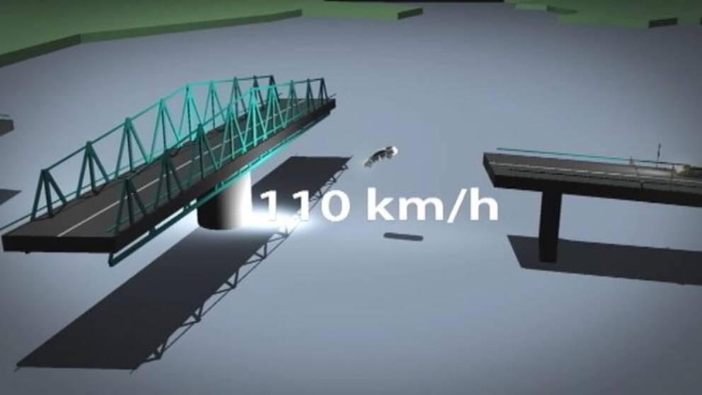 Vid tidpunkten för olyckan färdades bilen med en hastighet över 110 km/h visar SVT Sörmlands granskning. Grafik: SVT Design