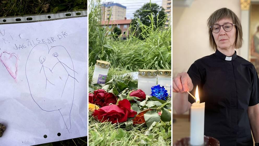 Starta klippet för att se bilderna från Hagfors – ett samhälle i sorg dagen efter att den femårige pojken hittats död under tisdagen. Prästen Åsa Bergsten berättar att många besökt Hagfors kyrka för att tända ljus.