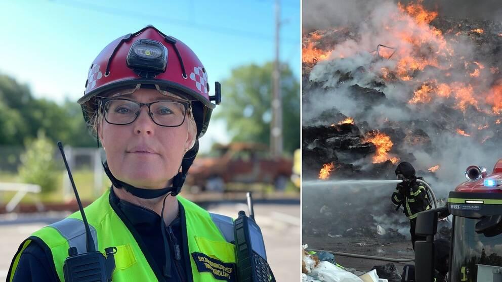 Kvinna med brandhjälm varselväst och com-radio och bild på en brandman som släcker lågor i en sopstation.