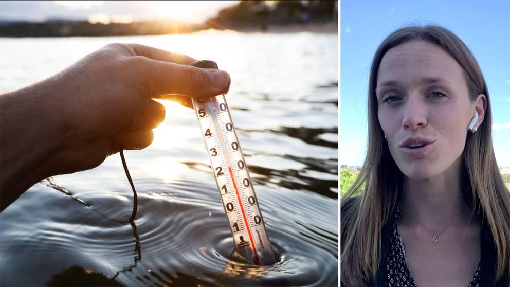 dubbelbild: termometer i sjö visar 22 grader, porträtt på meteorolog