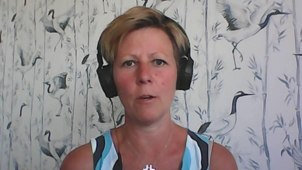 Vårdförbundets Skåneordförande Malin Tillgren i tv-studion