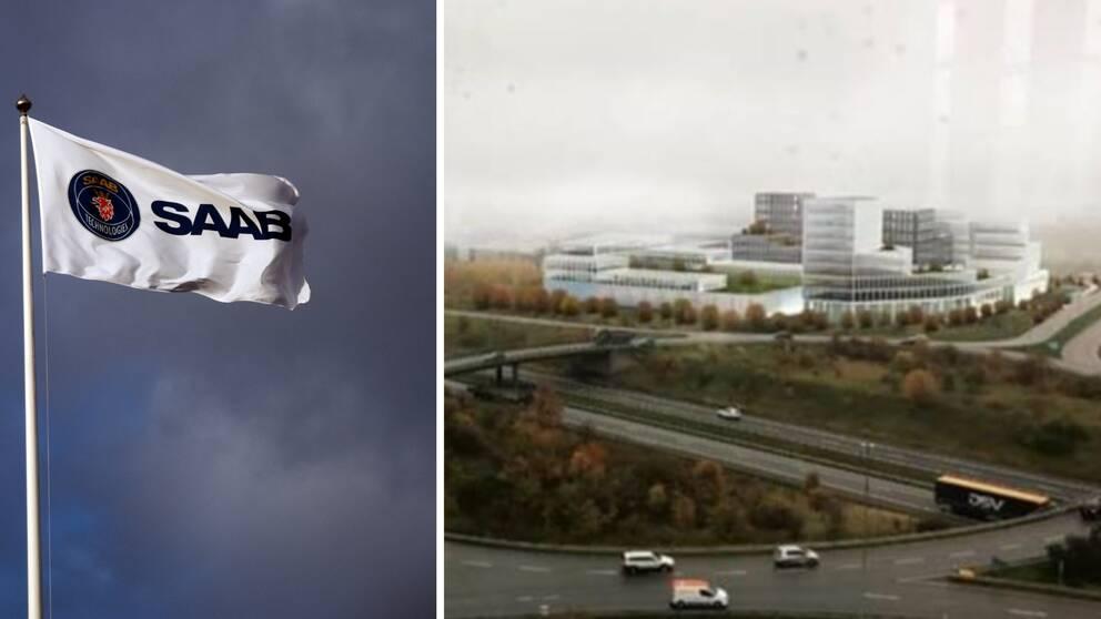 Saab-flagga och skiss på nya kontoret i Lund