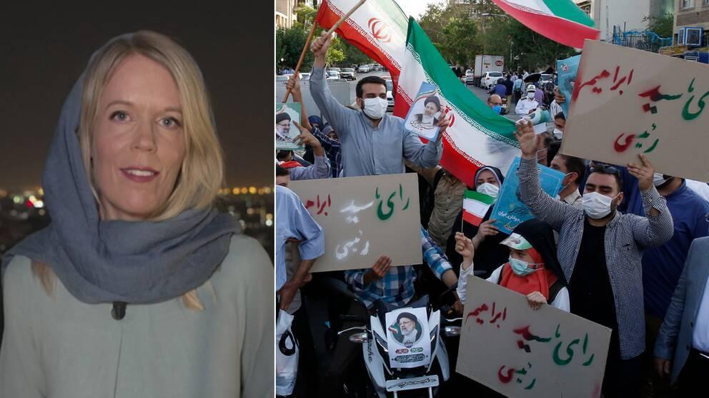SVT:s Mellanösternkorrespondent Stina Blomgren när hon rapporterar från Iran i sjalen som är obligatorisk i landet.