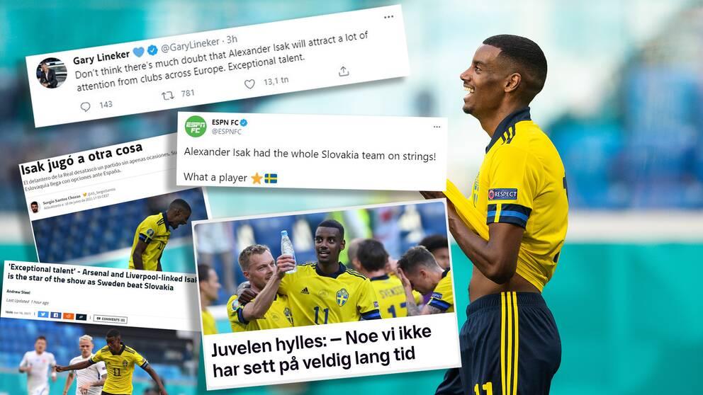 Alexander Isak hyllas världen över efter sin vassa EM-start.