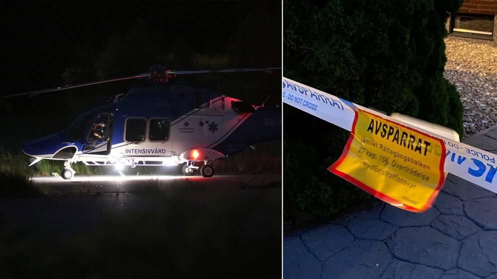 Polisen har spärrat av en villa i centrala Bålsta efter att en person har hittats skjuten.