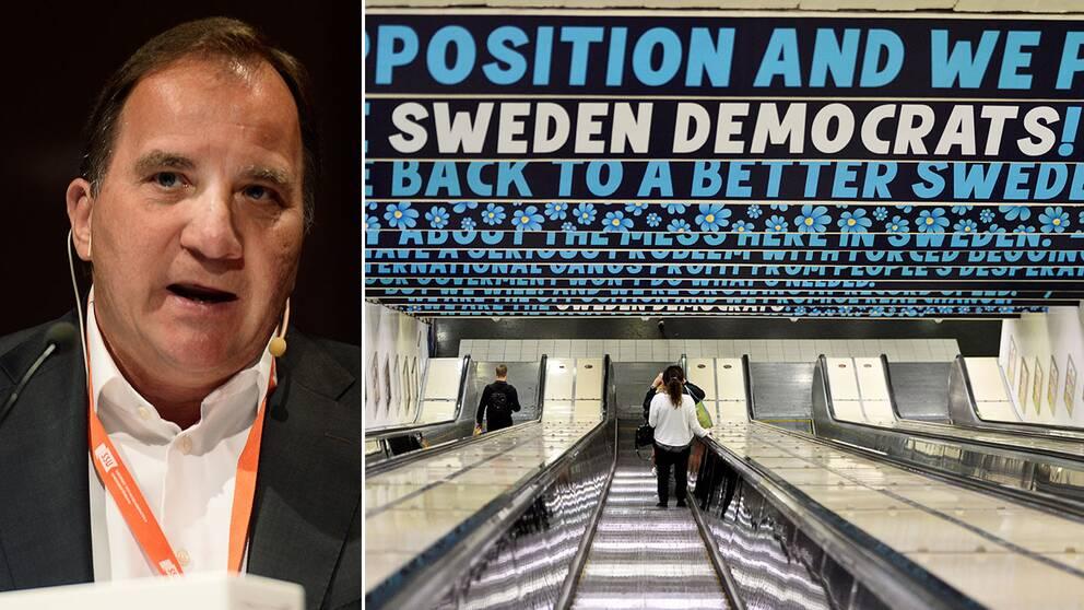 """""""Bedrövlig"""" säger Stefan Löfven om SD-kampanjen kring tiggeri."""