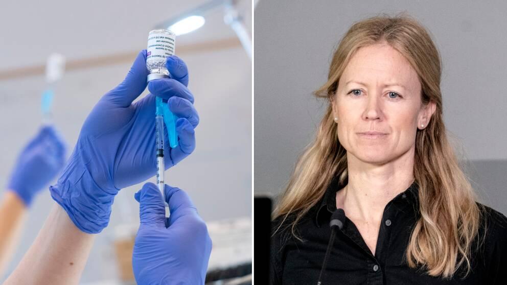 Tvä händer i blå plasthandskar som håller upp en spruta med vaccin. Bredvid bild på kvinna med ljust hår och svart tröja.