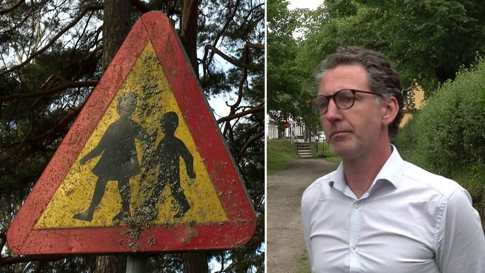 En vägskylt – varning för lekande barn. Porträttbild av Ulrik Bonnevier.