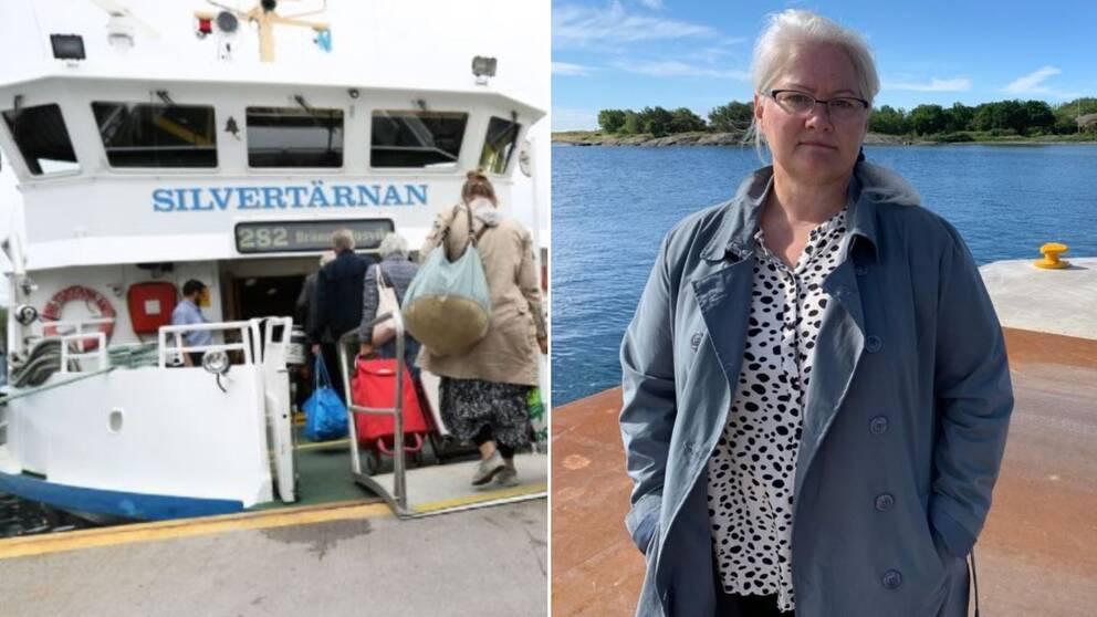 Skärgårdsbåt och kvinna med havet i bakgrunden