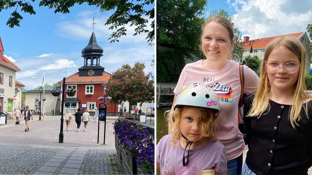 Trosa centrum och en bild på Katalin, Zacharina och Zoe vid Trosaån.