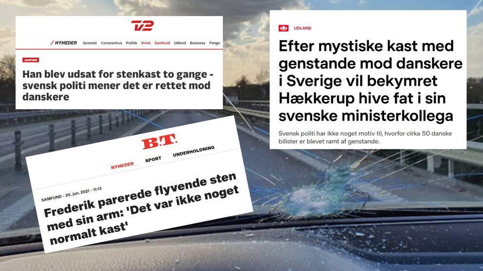 faksimil från danska tidningar som uppmärksammat stenkastningen, bild på krossad ruta