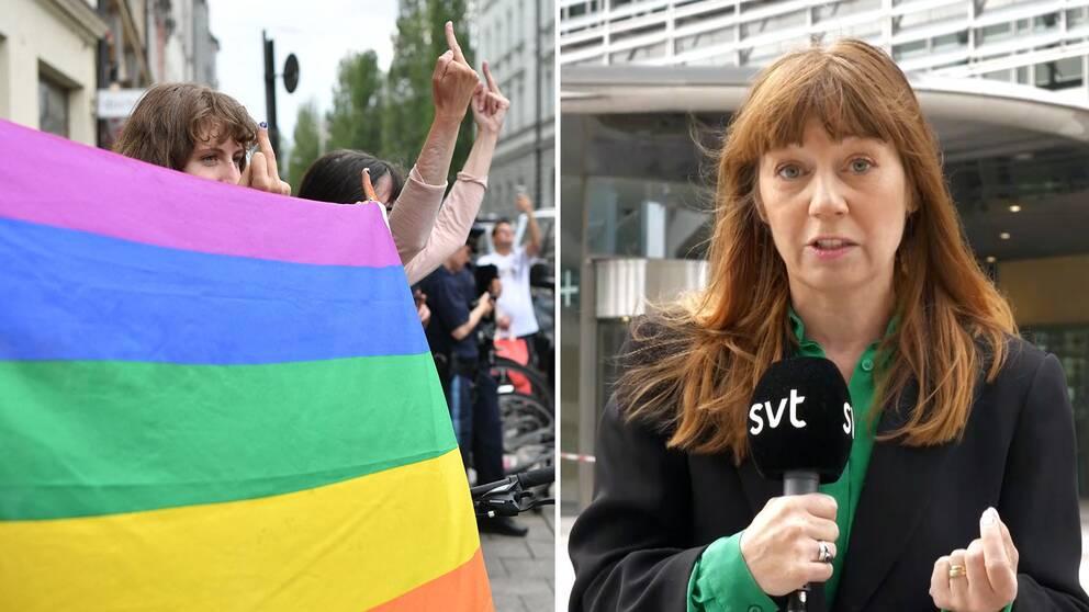 Regnbågsprotester i samband med EM-matchen mellan Tyskland och Ungern / SVT:s reporter Elin Jönsson.