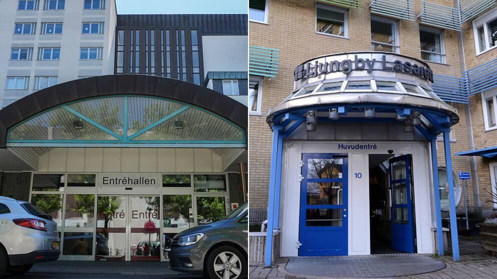 Bilden är delad i två. Den vänstra bilden föreställer entrén till Centrallasarettet i Växjö och den högra bilden föreställer entrén till lasarettet i Ljungby.