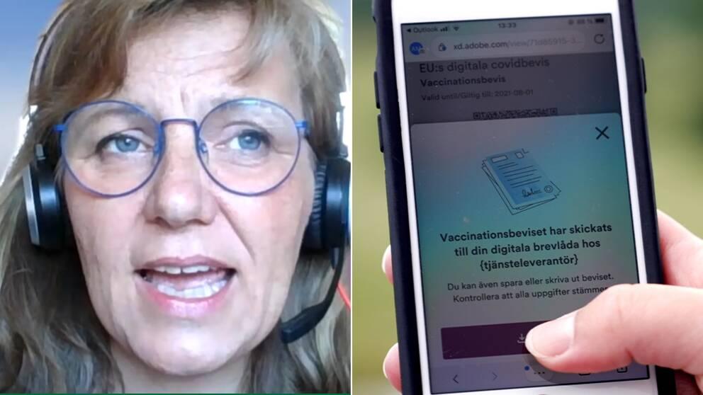 Bilden är delad i två. Den ena är en bild på Annemieke Ålenius och den andra föreställer en mobiltelefon som är inne på e-hälsomyndighetens digitala tjänst för covidbevis.
