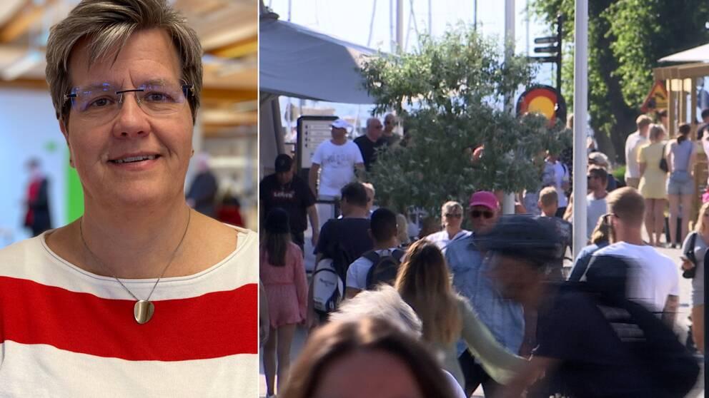 Bilden är delad i två. Den vänstra bilden är en porträttbild på Region Kalmar läns vaccinsamordnare, Marie Ragnarsson. Den högra bilden föreställer en folksamling i Borgholm under sommaren.