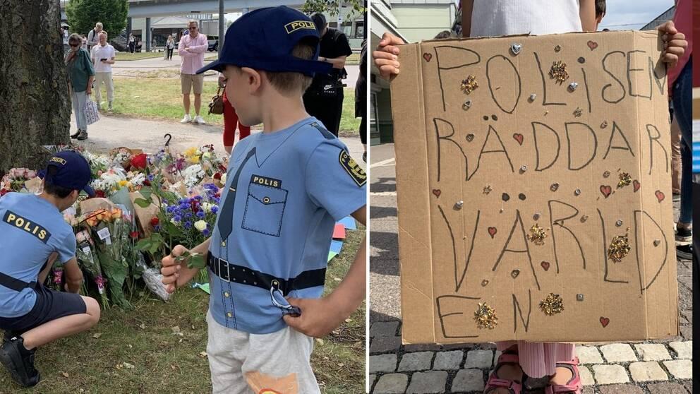 """Delad bild. Två pojkar i poliströjor lägger ner blommor. En flicka håller en skylt med texten """"polisen räddar världen""""."""
