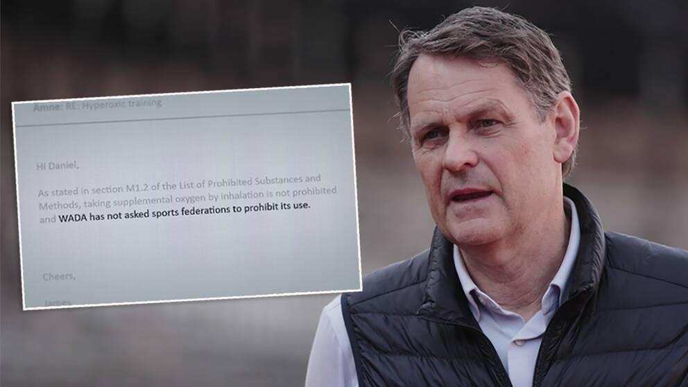 Peter Reinebo menar att Wada uppmanat internationella förbund att förbjuda hyperoxi – men det förnekar antidopningsbyrån i ett mejl till SVT.