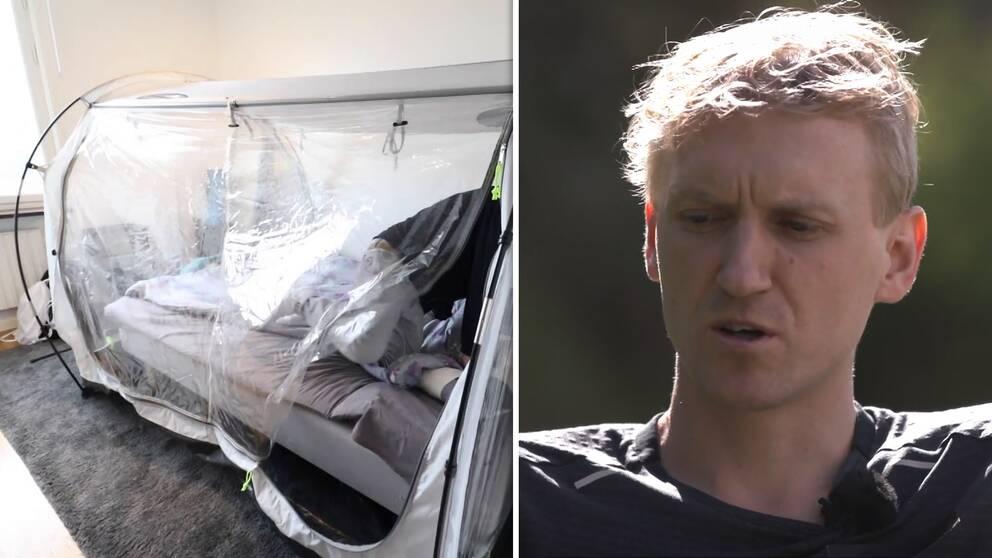 David Nilsson väljer bort läger på hög höjd men har i stället sovit i ett så kallat höghöjdstält.
