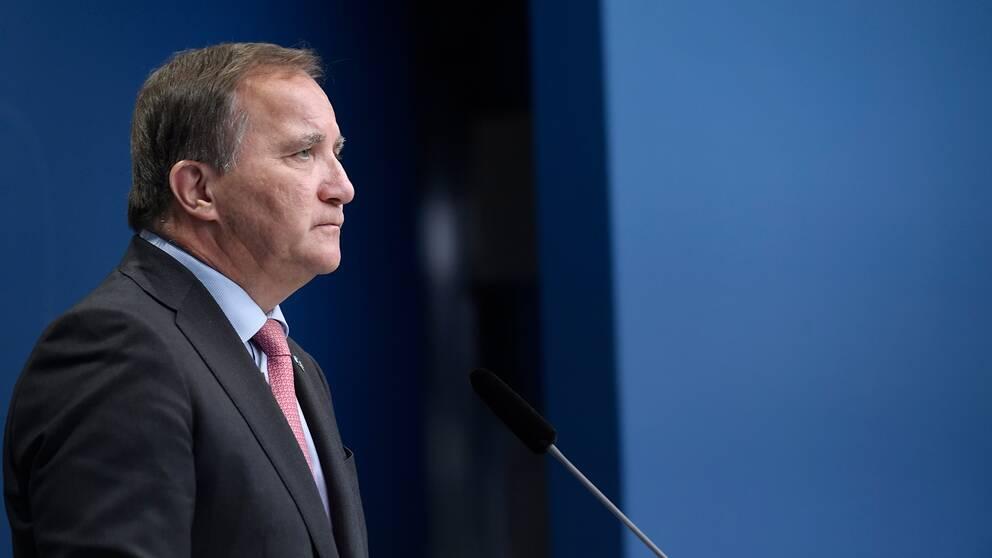 Bild från när Stefan Löfven (S) höll pressträff i Rosenbad i Stockholm och avgick som statsminister.