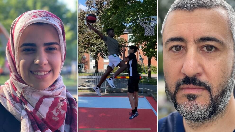 En kvinna som ler, en bild på en kille som är på väg att dunka en basketboll i korgen, och en man med en neutral min.