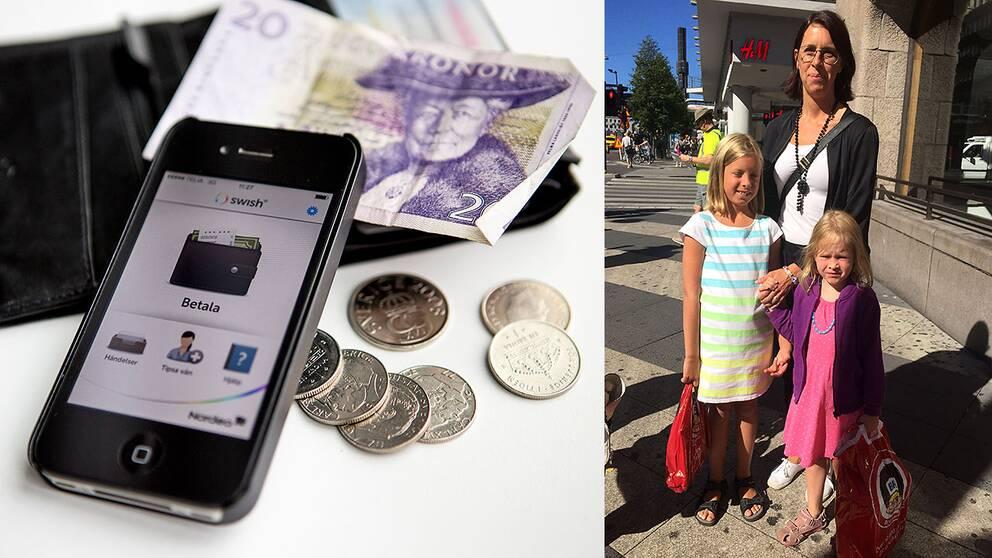 Mamma Julia Lundberg, Hanna Wåtz 9 år och Emma Wåtz 5 år är ute och handlar inför skolstarten, men ekonomin är ansträngd efter semestern.