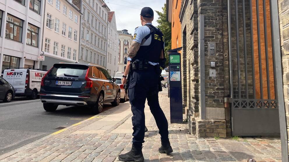 Polisbevakning utanför hovrätten i Danmark