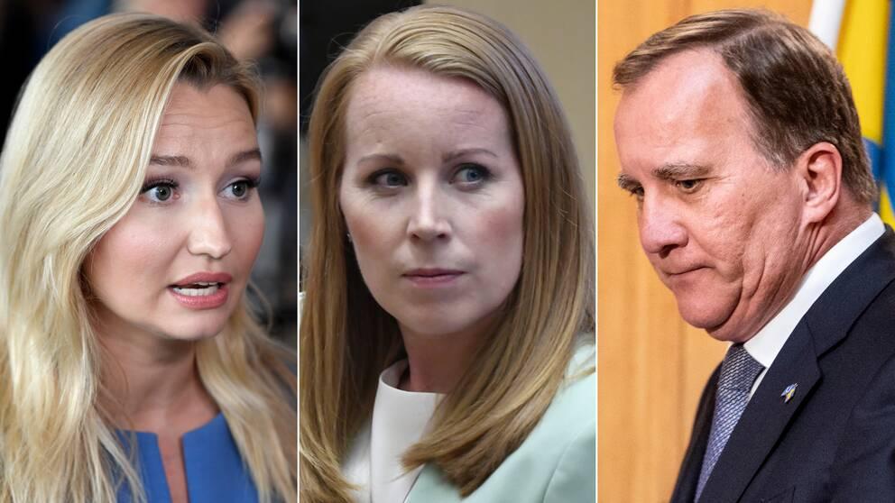 Från vänster: KD:s Ebba Busch, C:s Annie Lööf och statsminister Stefan Löfven.