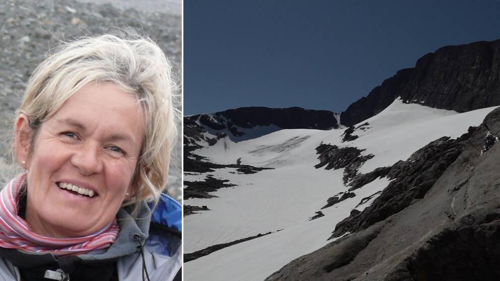 delad bild, en leende medelålders kvinna, samt vy upp mot fjälltopp med glaciär