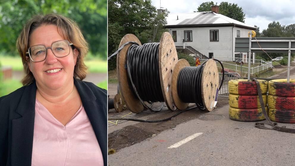 Bilden är delad i två. Den vänstra bilden är en porträttbild på Karin Helmersson, ordförande i regionala utvecklingsnämnden (C) i Kalmar län. Den andra bilden föreställer två rullar med kablar för fibernätverk.