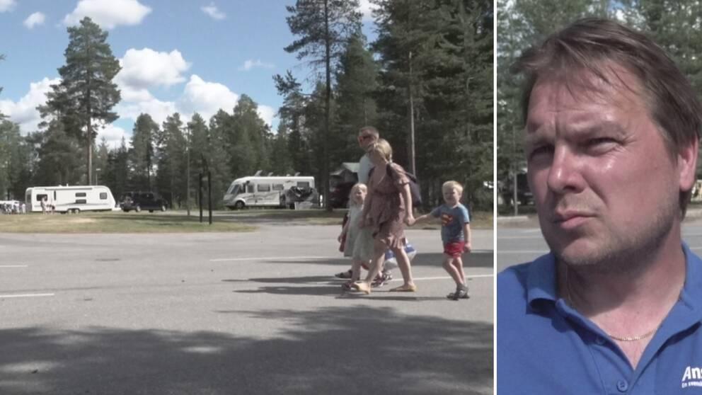 Två vuxna och två barn går på en asfalterad väg där husvagnar syns i bakgrunden. Till höger en infälld bild på en kisande man.