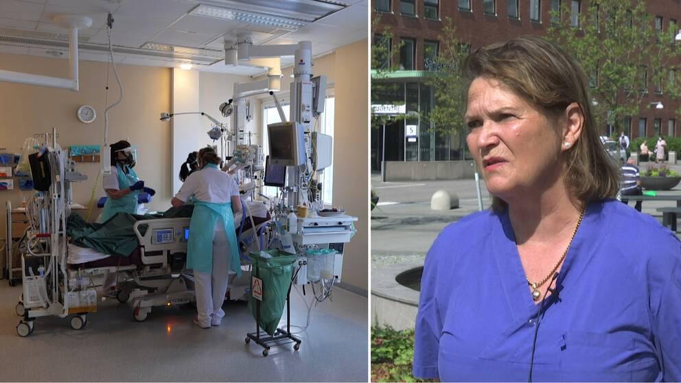Till vänster i bild en pågående operation och til höger operativa chefen över Sahlgrenska universitetssjukhuset.