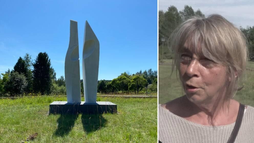Till vänster en abstrakt skulptur i vit marmor. Till höger en kvinna som rör på munnen och kisar.