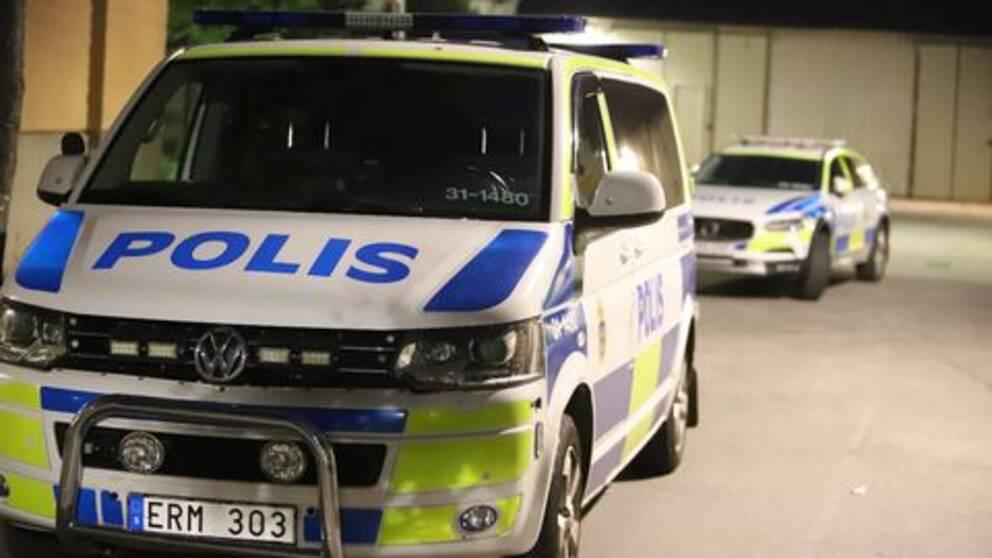 Polisbilar i närheten av brottsplatsen i Enskededalen.