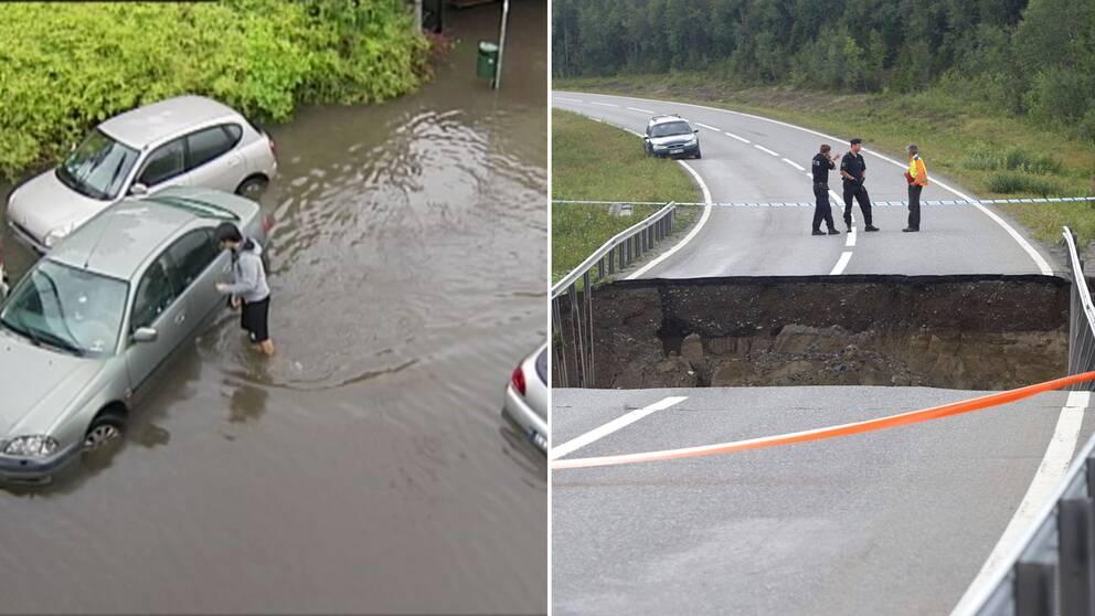 Översvämmad väg och väg som underminerats