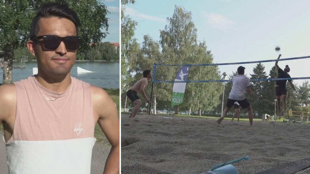 Till vänster en man med linne, svart hår och svarta solglasögon. Till vänster fyra personer som spelar beachvolley.