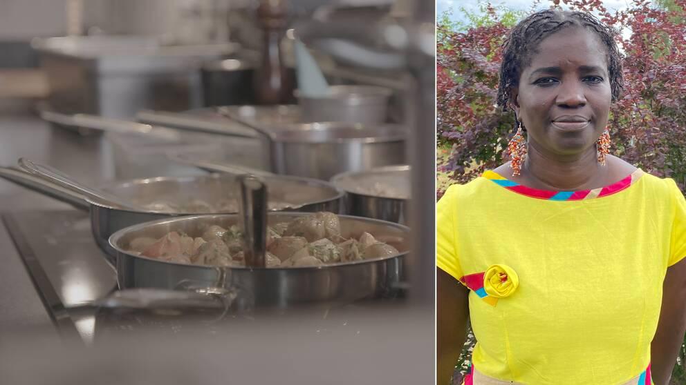 Bilden är delad i två. Den vänstra bilden visar flera rostfria stekpannor med mat i, det ser ut som potatis och morötter. Den vänstra bilden är en bild på BannaThioubou som arbetar som Eures-rådgivare för Kalmar län. Hon har på sig en klargul klänning med färgglad krage och en ros på bröstet.