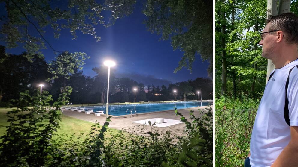 Fotomontage, en person som tittar mot en pool, och en bild på en pool nattetid