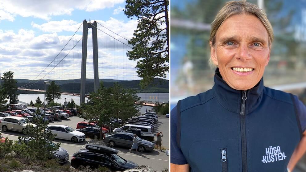 mängder av bilar på parkeringen vid Höga kusten-bron, samt porträtt på Mia Karlsson – en leende medelålders kvinna