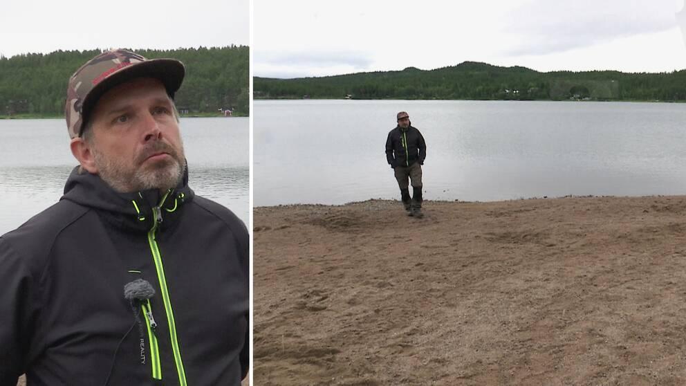 närbild en man i jacka och keps, samt vy där han står på sandstrand framför vatten, och skog bortanför