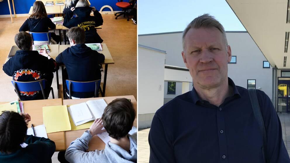 Till vänster en bild på elever i ett klassrum. Till höger bild på Svante Tideman, 1:e vice förbundsordförande på Lärarnas Riksföbund