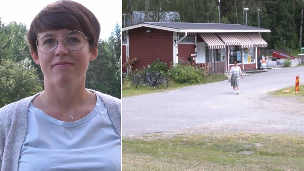 porträtt av en kvinna med kort hår och glasögon, samt bild där hon går från ett receptionshus på campingområde