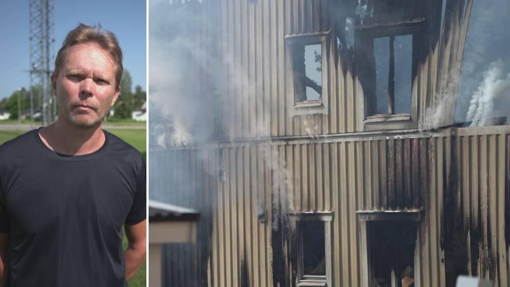 En man med bekymrad min bredvid en bild på ett brandhärjat hus.