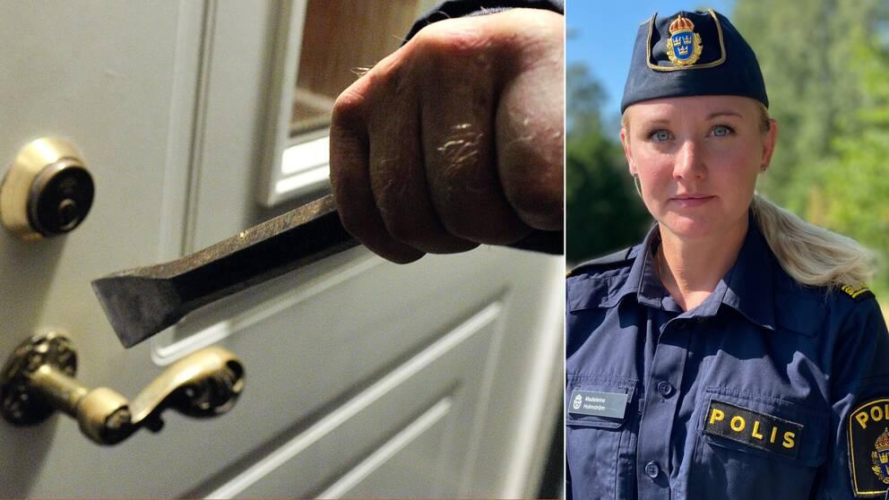Genrebild på person som håller en kofot framför en dörr. Den högra bilden visar en halvbild på polisen Madeleine Holmström.