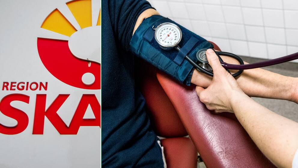 Collage med en bild på Region Skånes logga och en bild på blodtryckstagning.