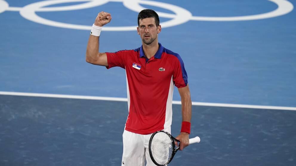 Novak Djokovic gav inte Kei Nishikori en chans i OS-kvartsfinalen.