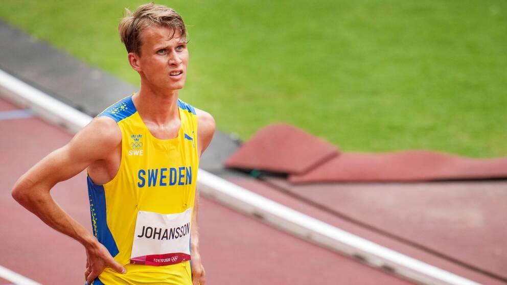 Sveriges Vidar Johansson efter herrarnas försök på 3000 meter hinder under under sommar-OS i Tokyo.