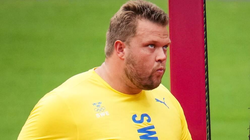 Sveriges Daniel Ståhl under herrarnas kval i diskus under under sommar-OS i Tokyo.