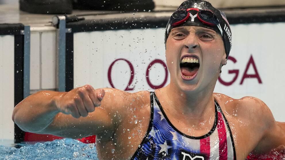 Katie Ledecky har haft anledning att jubla under OS. Här efter guldet på 1500 meter.