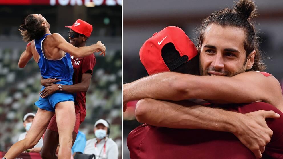 Italienaren Gianmarco Tamberi och Mutaz Essa Barshim från Qatar delade på höjdhoppsguldet.