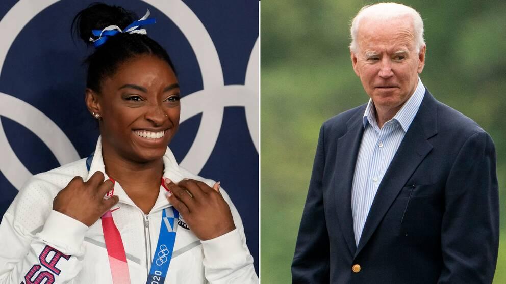 Joe Biden är imponerad över Simone Biles bedrift.